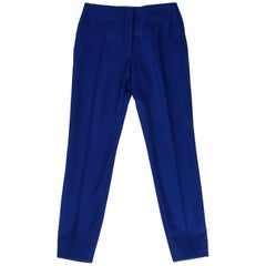 Christian Dior Pant Electric Blue Flannel Flat Front Slim Leg fits 8