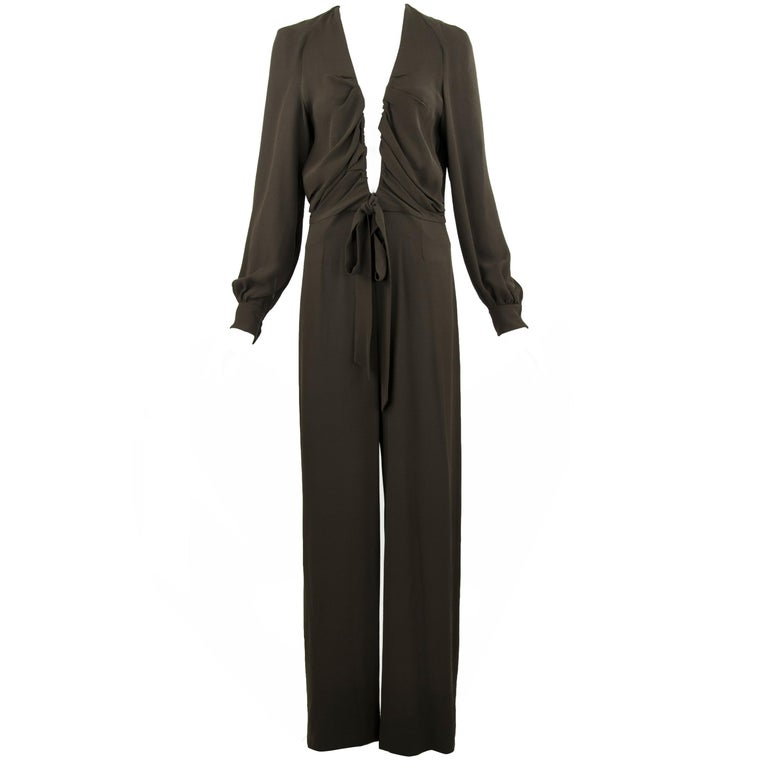 Chloe Brown Low V-Neck Jumpsuit