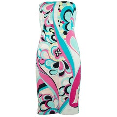 Pucci Multicolored Printed Strapless Dress - Size 6