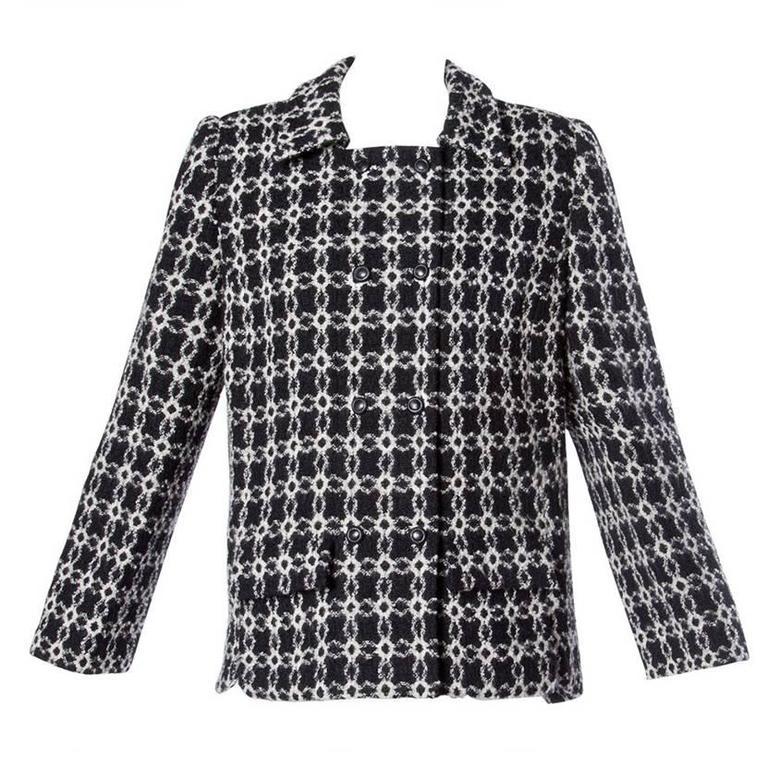 Pierre Cardin Vintage 1960s 60s Black + White Geometric Boxy Wool Jacket