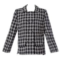 Pierre Cardin Vintage 1960s 60s Black + White Geometric Boxy Wool Jacket