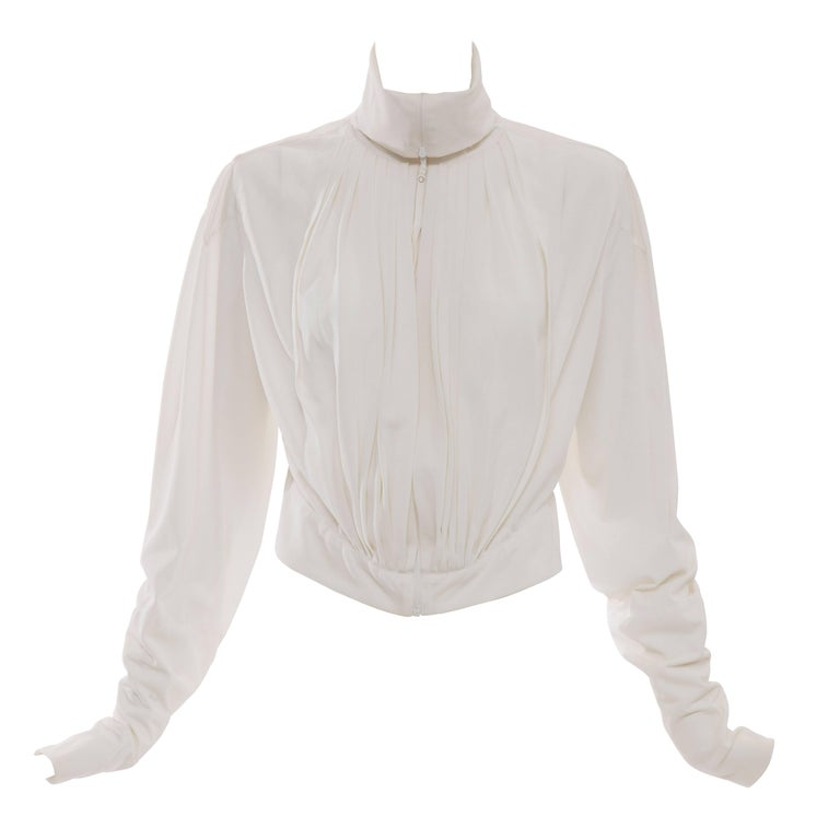Jean Paul Gaultier White Nylon Zip Front Jacket, Circa 1990s For Sale