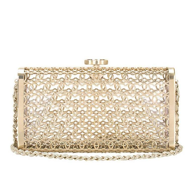 Chanel Metal Moucharabieh Minaudiere Bag For Sale