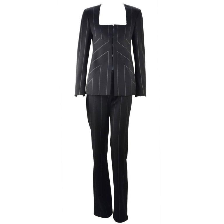 1990s Versace Black Reflective Pin Stripe Pantsuit