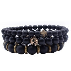 Stacking Organic Skull and Cross Bracelet Set - Black Onyx