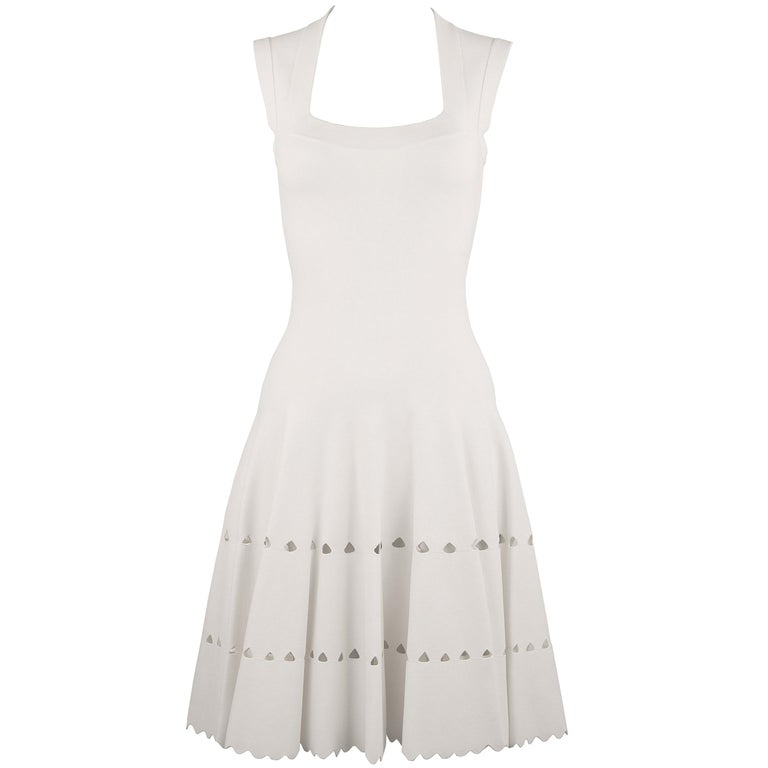 Alaia White Laser Cut Fit & Flare Dress For Sale