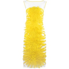 Angel Sanchez Sheer & Yellow Organza Dress - Size 2