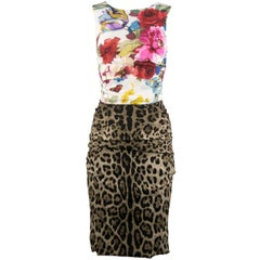 Vintage Dolce & Gabbana Floral & Leopard Print Dress - Size IT 38