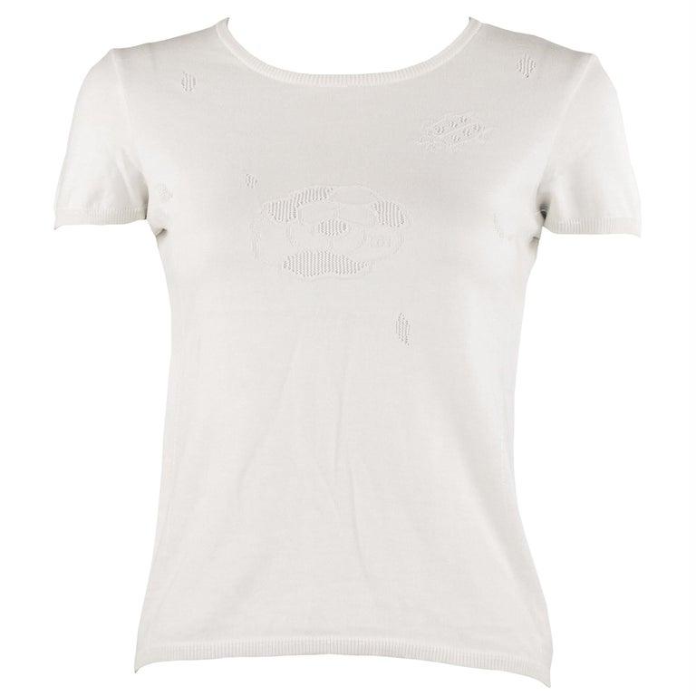 Chanel White Knit Jacquard Shirt - Size FR 36