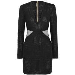 Balmain Mesh-Trimmed Croc-Effect Stretch Knit Mini Dress