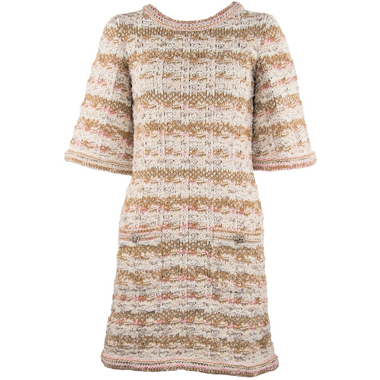 4d68b900ff0 Chanel Resort 2015 Multicolored Woven Shift Dress - Size FR 36 For Sale