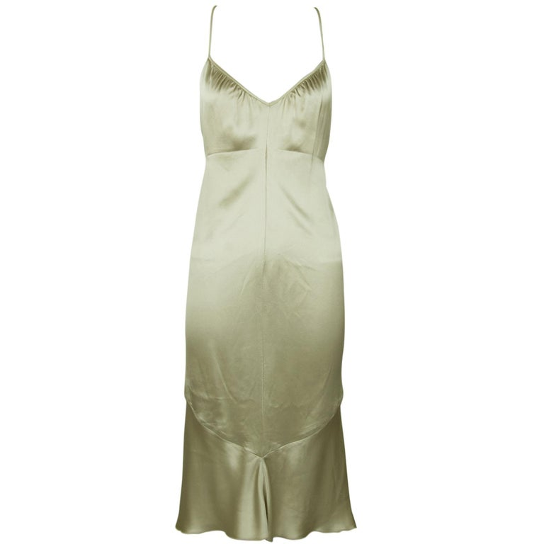 8199eaf2b01b Vintage Valentino Champagne Slip Dress with Beading - Size 4 For Sale