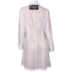 Dolce & Gabbana D&G Logo Sheer White Jacket Coat, 1990s