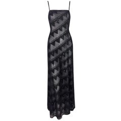 Giorgio Armani Runway Sheer Black Mesh Beaded Gown Dress, F / W 1999