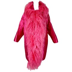 Gianfranco Ferre Pink Quilted Opera Coat Jacket with Feathers, 1990s