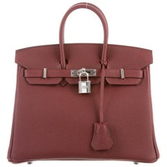Hermes Silver Top Handle Satchel Flap Birkin 25 Bag