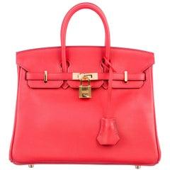 Hermes Gold Top Handle Satchel Flap Birkin 25 Bag