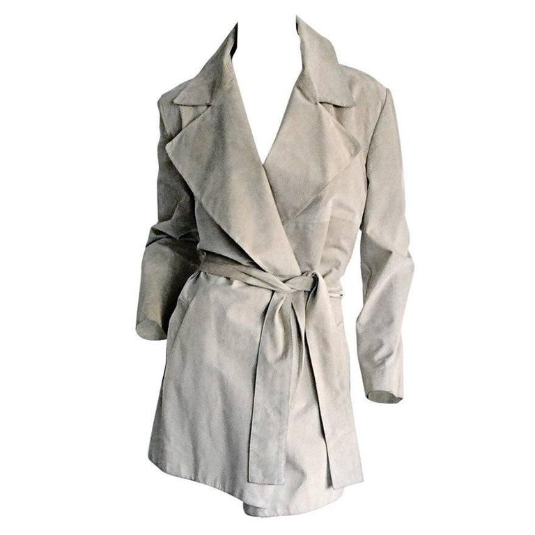 Tom Ford For Gucci 1990s Suede Leather Stone Khaki Belted Spy Trench Coat Jacket For Sale