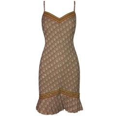 Christian Dior by John Galliano Rasta Monogram Sheer Mesh Tan Dress, 2004