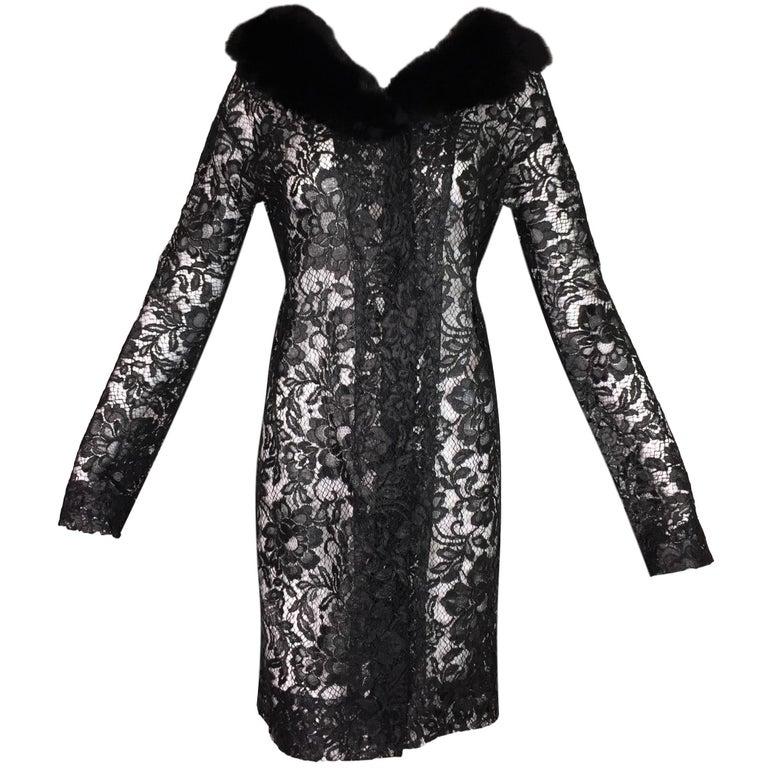 Dolce & Gabbana Runway Black Patent Lace Princess Dress Jacket Mink, S / S 1999
