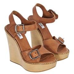Brown Chloe Leather Wedge Sandals
