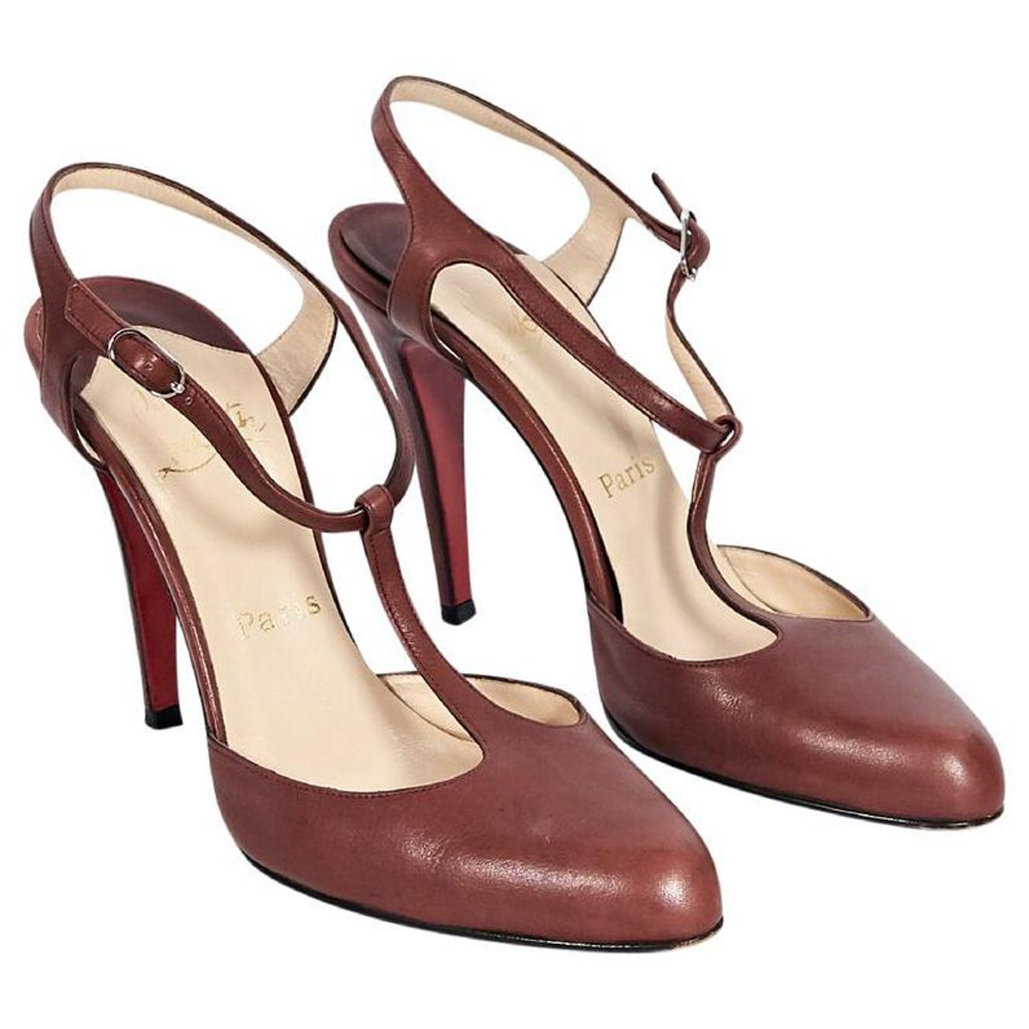 479c456ce122 Brown Christian Louboutin T-Strap Leather Pumps at 1stdibs
