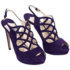 Purple Prada Suede Platform Pumps