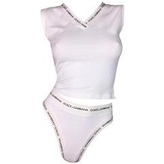 Dolce & Gabbana Monogram White Crop Top and High Waist Panties, 1990s