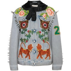 Gucci Calf Hair-Paneled Embellished Denim Jacket