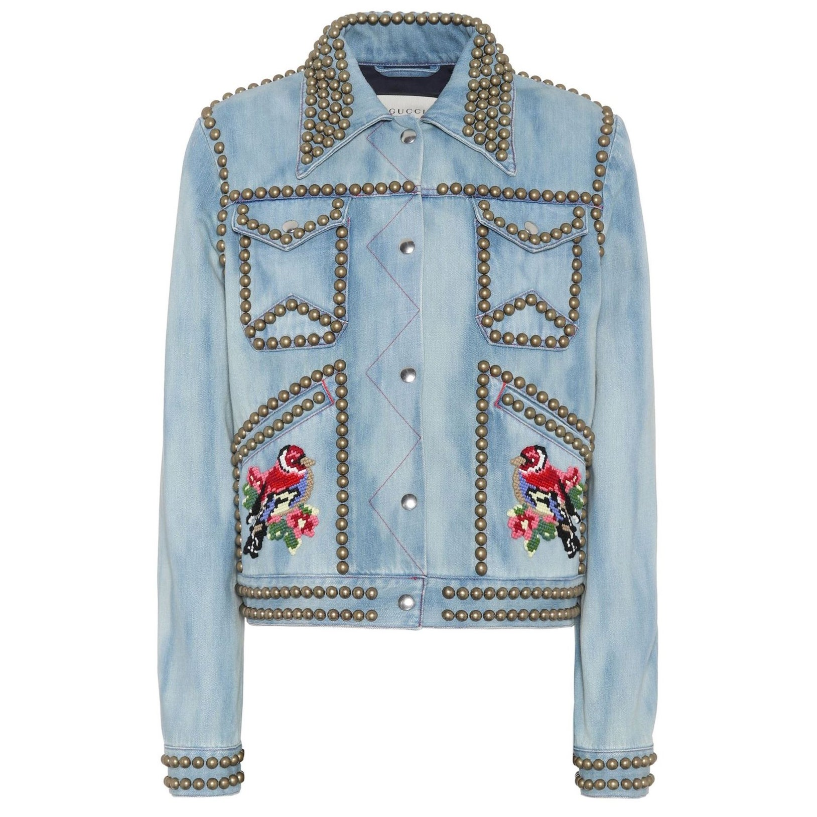 Gucci Embroidered Studded Denim Jacket