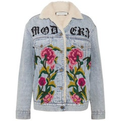 Gucci Shearling Lined Embroidered Denim and Jacquard Jacket