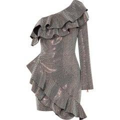 Balmain One-Shoulder Crystal Embellished Ruffled Mini Dress