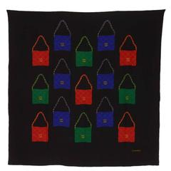 CHANEL Black Silk Scarf w/Blue Red and Green Chanel Classic Bags