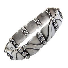Hector Aguilar Sterling Silver Lyre Bracelet