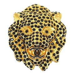 Chanel Vintage Lion Head Rhinestones CC Logo Brooch Pin