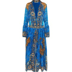 Etro Printed Plissé-Silk Maxi Dress