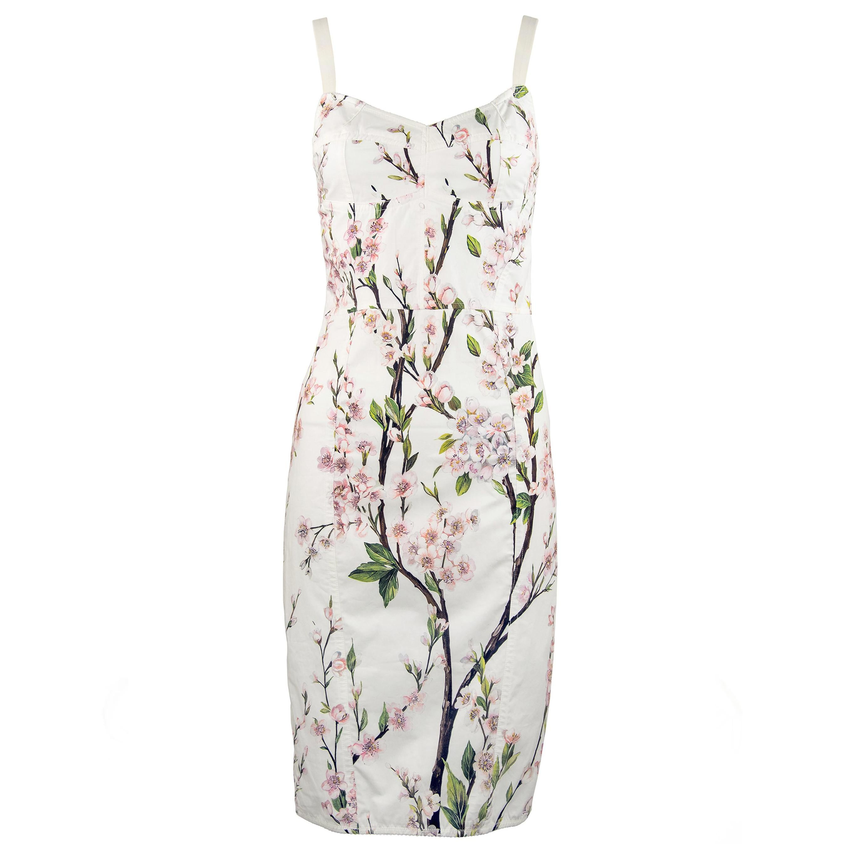 9785377e Dolce and Gabbana Vintage White Floral Cotton Sheath Dress For Sale at  1stdibs