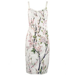 Dolce & Gabbana Vintage White Floral Cotton Sheath Dress