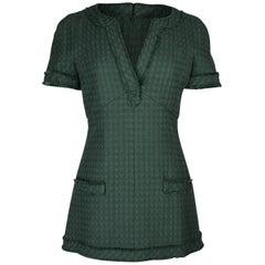 Chanel 13P Dress Green Tweed Mini 36 / 4 nwt