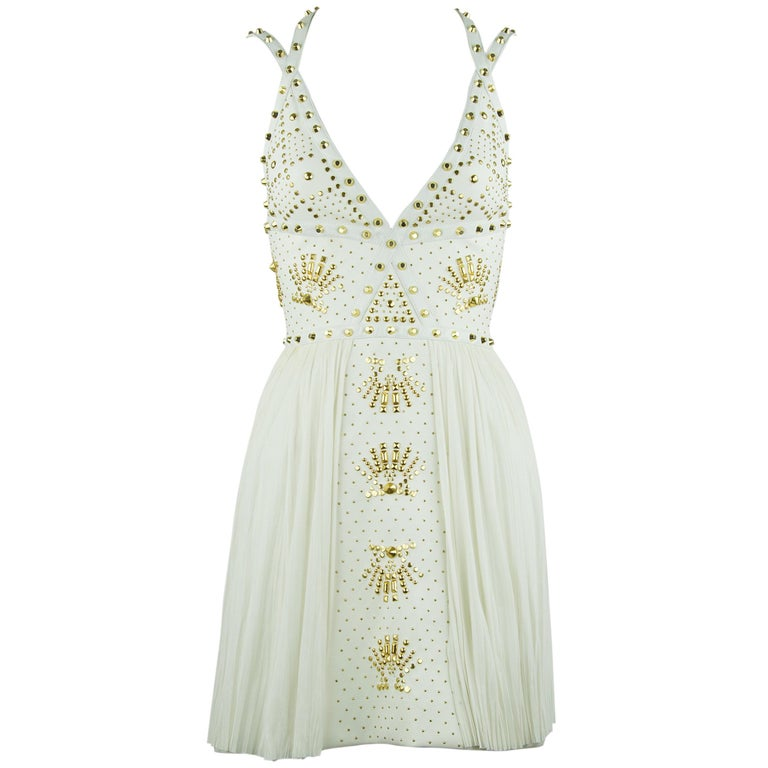 Gianni Versace White Dress with Gold Studs and Leather Trim  For Sale
