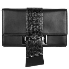 Prada Bag Plex Ribbon Clutch / Shoulder Black w/ Crocodile and Leather Ribbon
