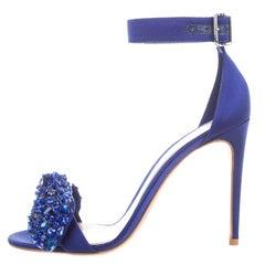 Alexander McQueen Blue Rhinestone Bow Ankle Sandals Heels