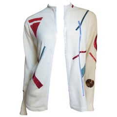 1970s Giorgio Sant'Angelo Sweater with Abstract Beaded Pattern