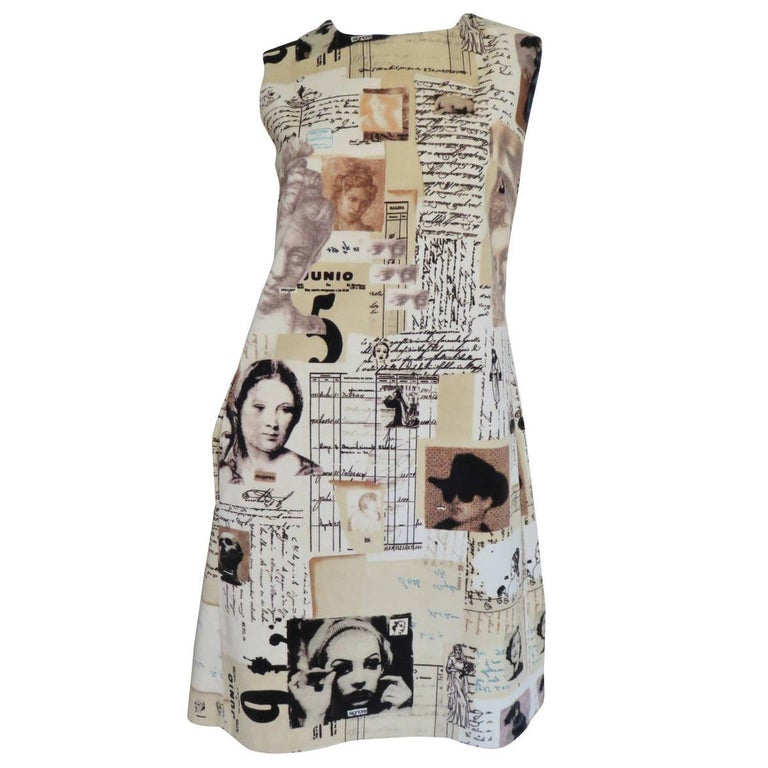1990s Moschino Screen Stars Print Dress