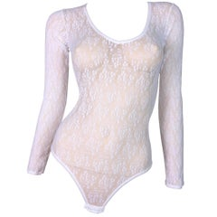 NWT 1990's Christian Dior Sheer White Mesh Lace Monogram Bodysuit Top