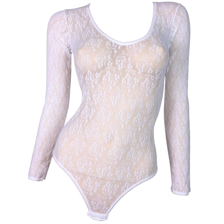 4e677d2d47 NWT 1990 s Christian Dior Sheer White Mesh Lace Monogram Bodysuit Top For  Sale at 1stdibs