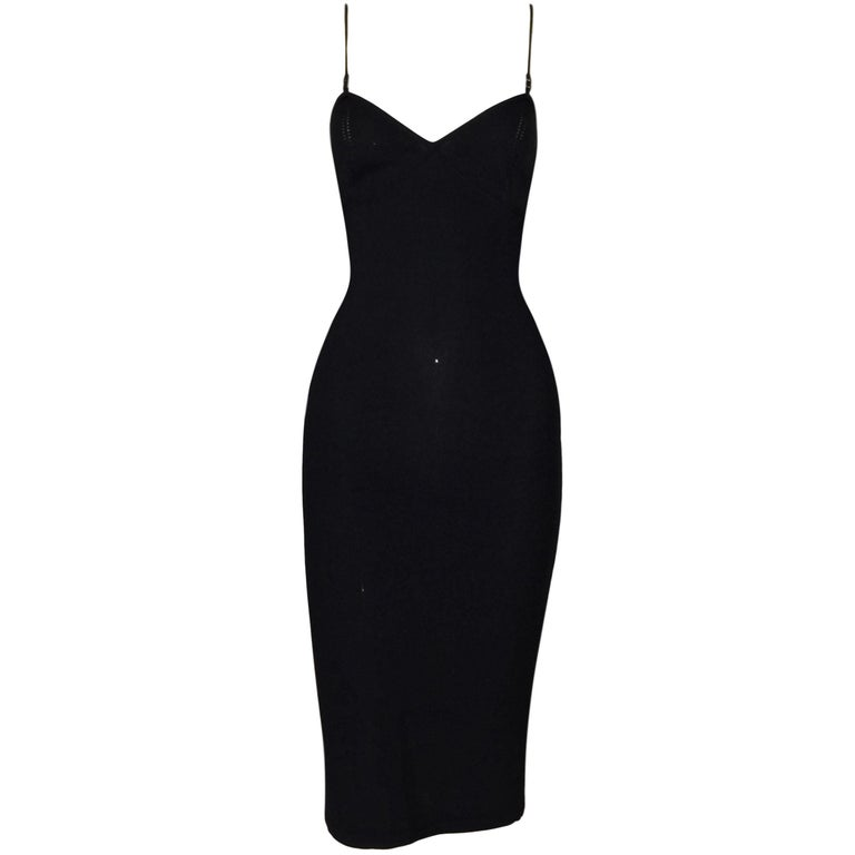 1999 Gucci by Tom Ford Black Plunging Knit Bodycon Dress For Sale