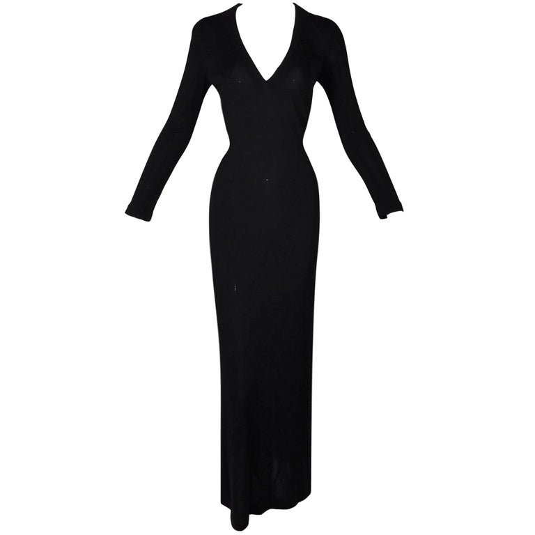 Gucci by Tom Ford Plunging Black L / S Gown Dress, 1996