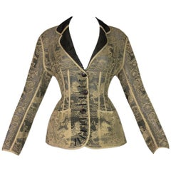S/S 1988 Jean Paul Gaultier Sheer Chantilly Lace Cowboy Wasp Waist Jacket