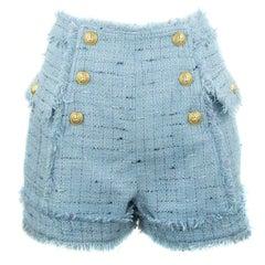 Balmain Light Blue Tweed Fringe Shorts - Size FR 40